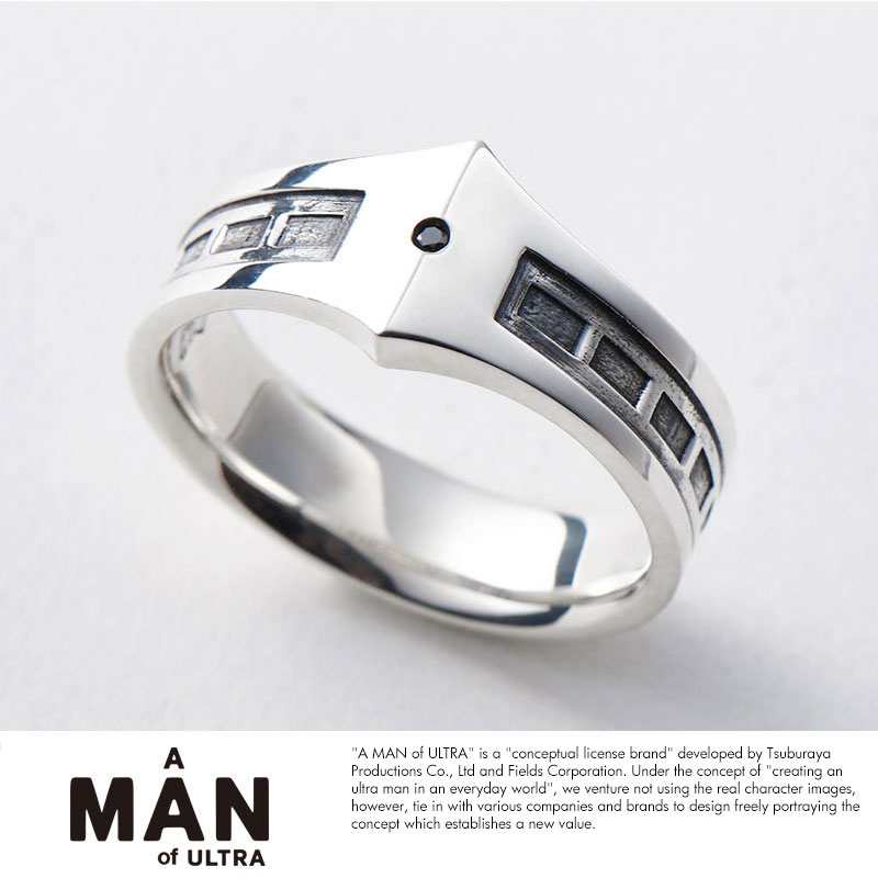 A MAN of ULTRA × PUERTA DEL SOL ウルトラセブンリング TYPE-2 シルバー950ブラックダイヤモンドリング 指輪
