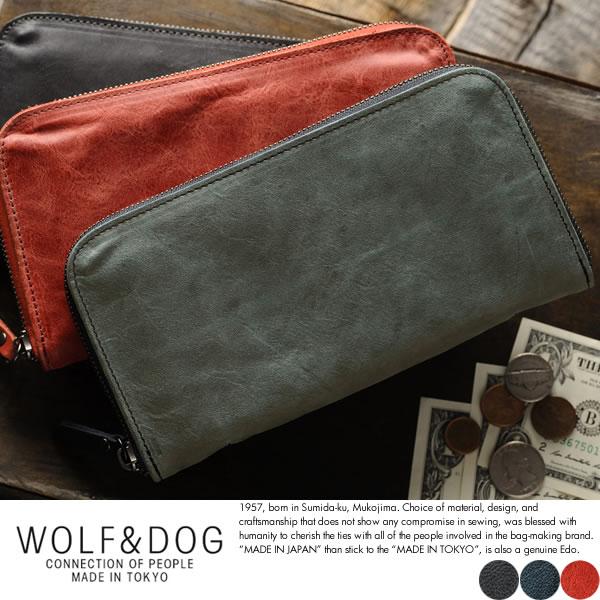 WOLF&DOG 長財布 ラウンドファスナー ホワイトホース インナーレザー
