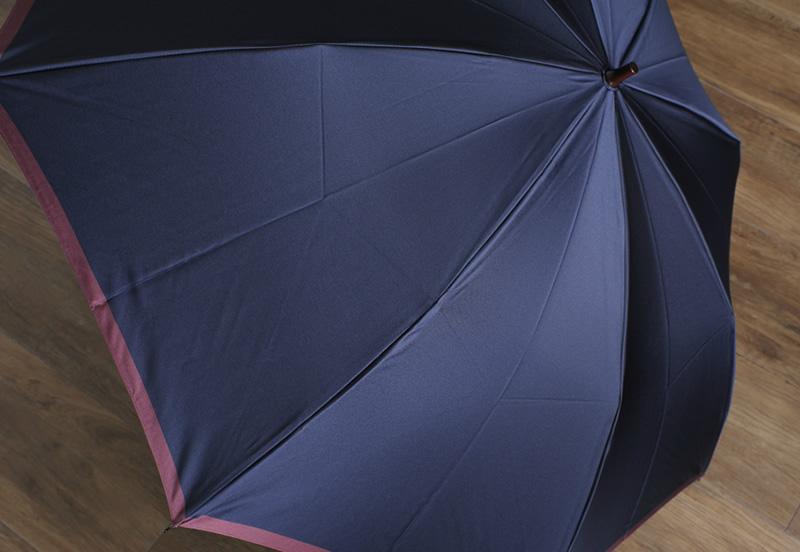 前原光榮商店 高級 雨傘 8本骨グラスファイバー 58cm ボーダー 楓持ち手 BORDER-TU