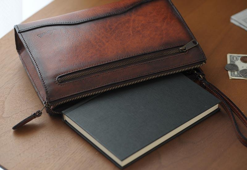 青木鞄 Lugard シャドー牛革 クラッチバッグ G-3