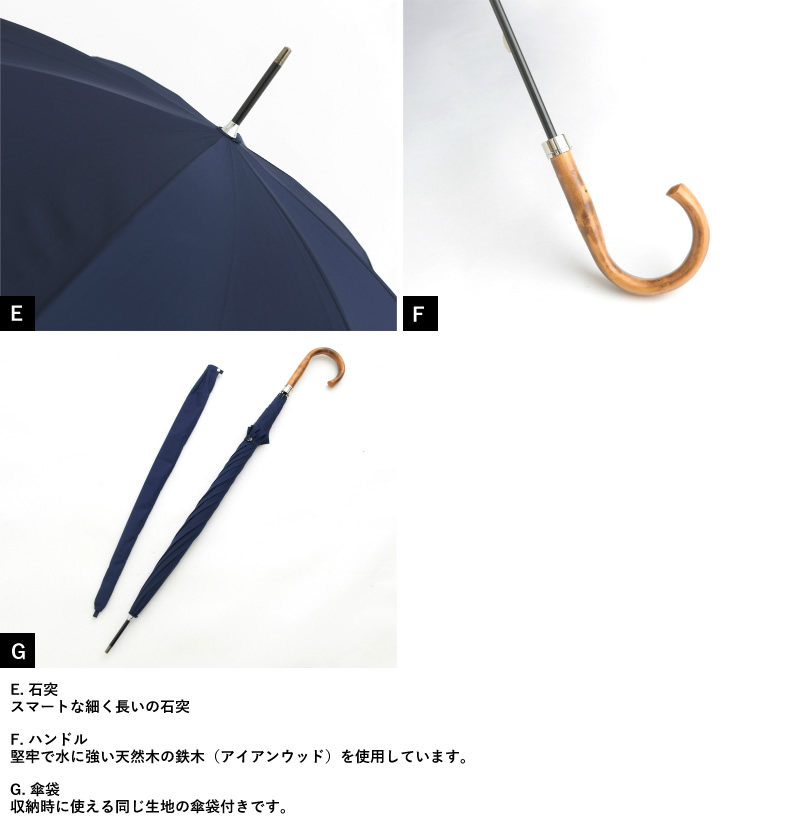 Ramuda メンズ 傘 70cm 強力撥水 レインドロップ レクタス 8本骨 鉄木持ち手 細巻き 軽量 カーボン