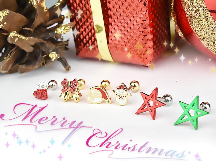 耳たぶ ピアス 16g クリスマス ボディピアス 金属アレルギー対応 軟骨ピアス 軟骨 耳用 イヤー ロブ 軟骨用 トラガス ヘリックス シルバー ゴールド ストレートバーベル かわいい 透明 クリア ジュエル ブーツ 長靴 サンタクロース サンタ