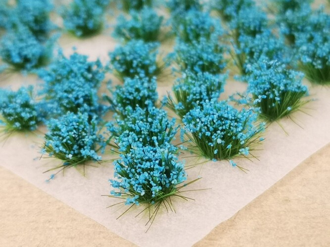 Small Flower Tufts Neon Blue