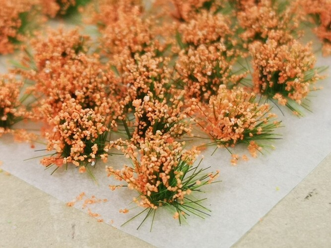 Small Flower Tufts Coral Orange