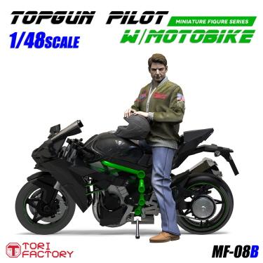 トリファクトリー[MF-08B]1/48 現用 米 愛車に跨るアメリカ軍パイロット 大型スーパーバイク付