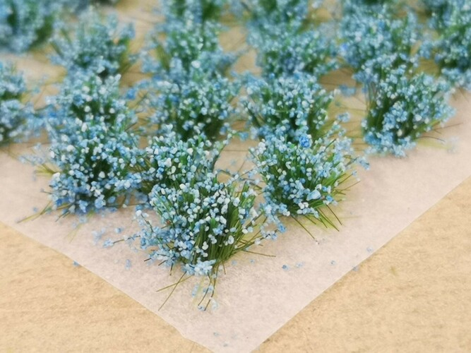 Small Flower Tufts Pastel Blue