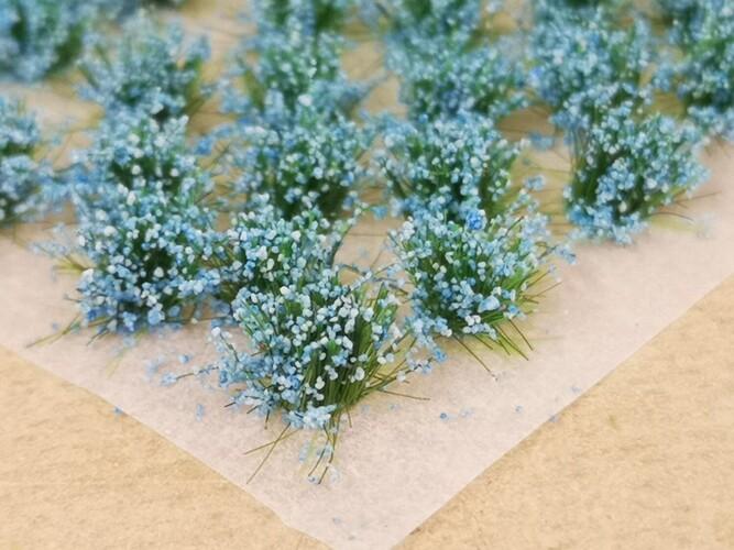 Large Flower Tufts Pastel Blue