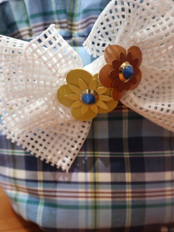 【選べる お花カラー!】カラフルチェック スクエアベッド 青☆Mサイズ