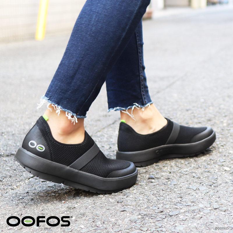 ウーフォス/OOFOS OOMG Mesh Low Black Sole(ウーエムジーメッシュロウ) リカバリーシューズ