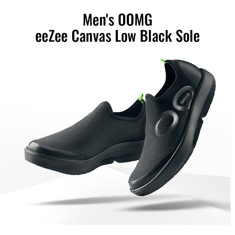 ウーフォス/OOFOS Men's OOMG eeZee Canvas Low Black Sole(メンズウーエムジーイージーキャンバスロウ)リカバリーシューズ