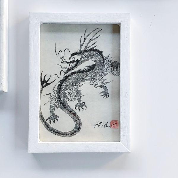 和紙プリント額装 招き猫/ドラゴン/七福神