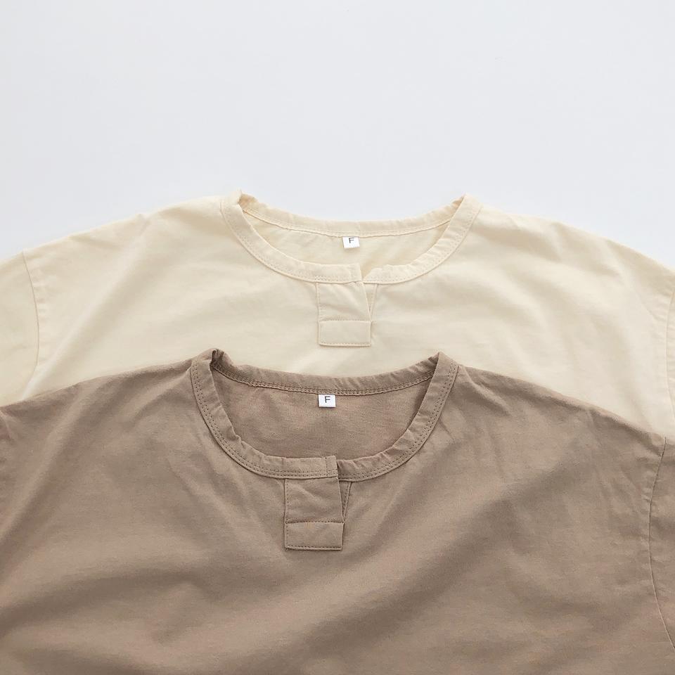 【osoro】スキッパー Tシャツ #ブラウン