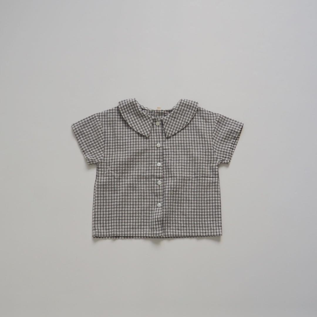 ギンガムチェックカラーTシャツ #グレー