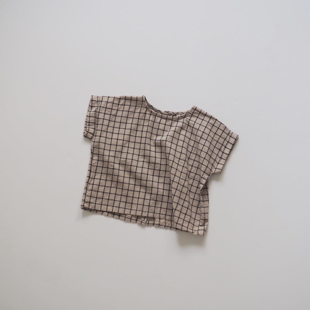 ボタンダウングラフチェックTシャツ #ベージュ