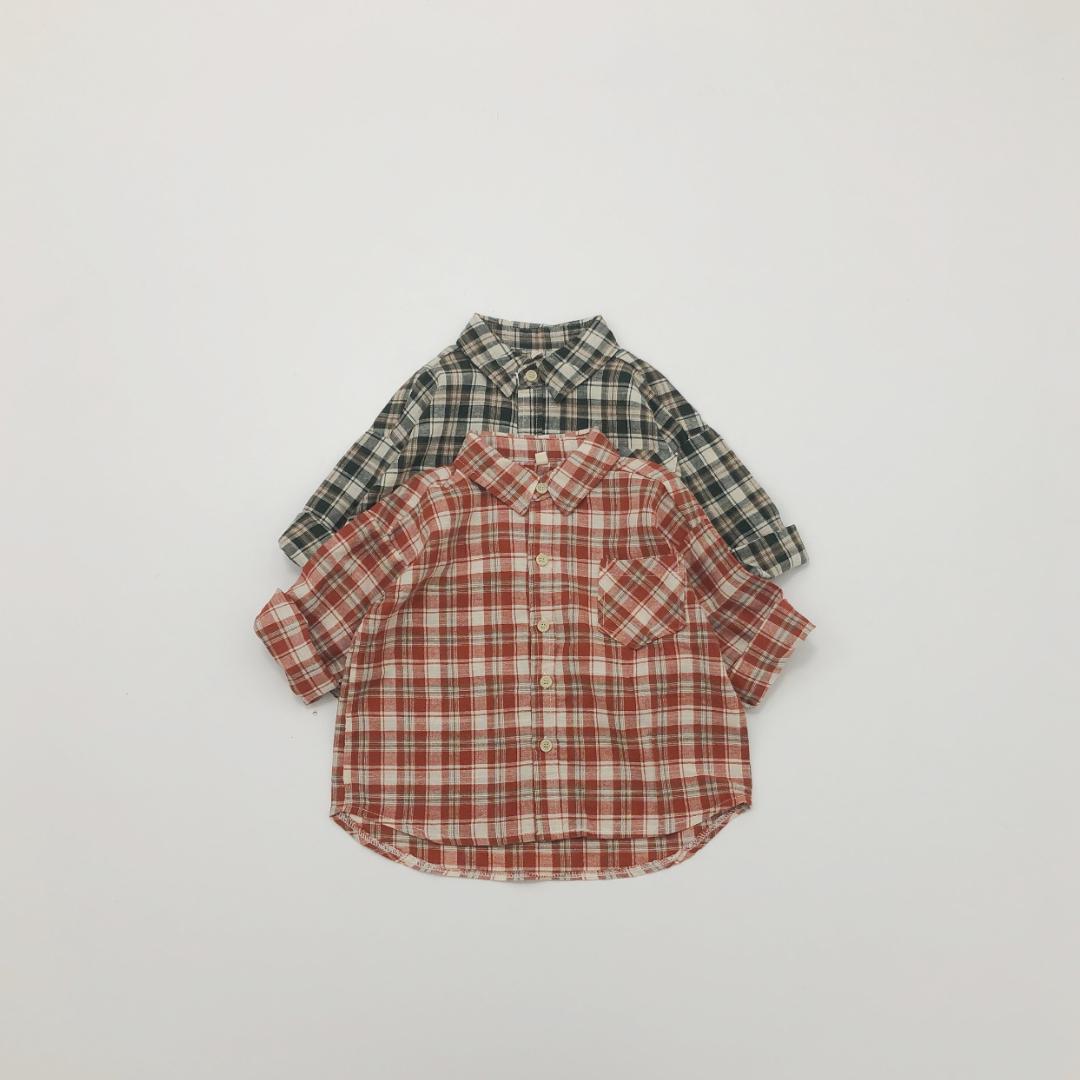 コットンリネンチェックシャツ
