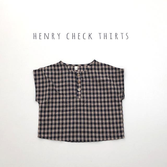 ヘンリーチェックシャツ #ベージュ