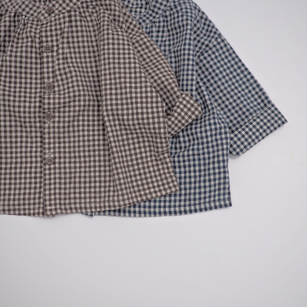 ノーカラーギンガムチェックシャツ