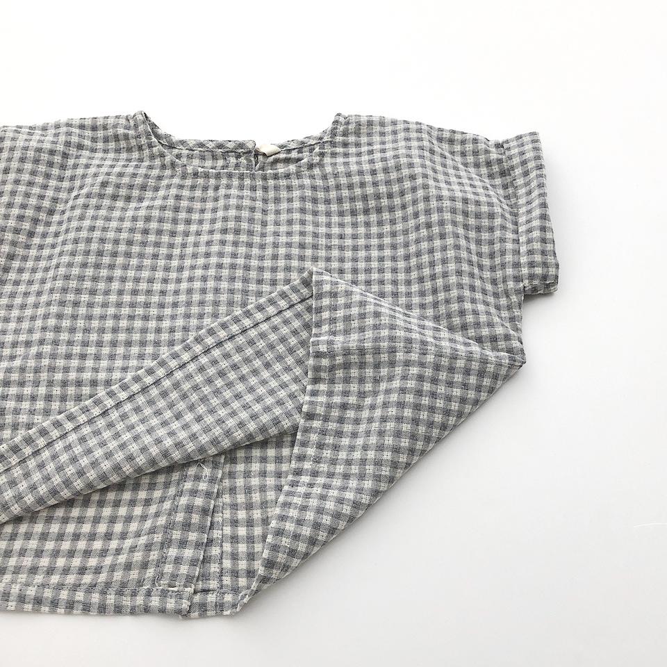 バックボタンワイドチェックシャツ #グレー
