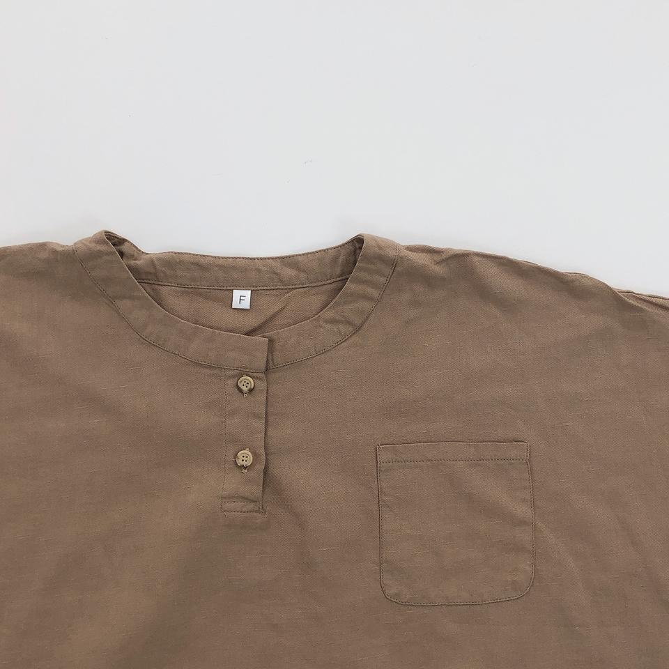 【osoro】ノーカラーボタンTシャツ #ベージュ
