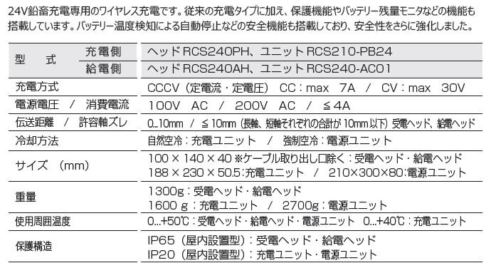 充電(24V鉛蓄電池専用)/30V/7A RCS210_,RCS240_