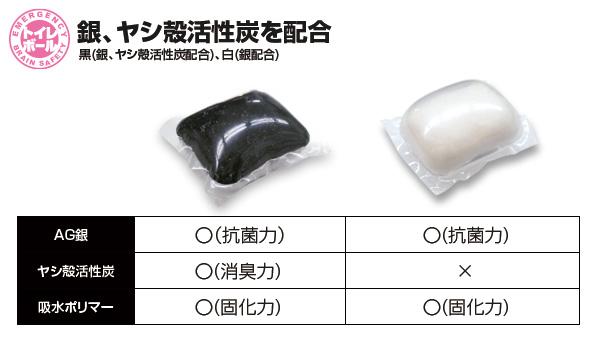 BR-929-bk/wh 非常用トイレボール6個入り(黒 ブラック/白 ホワイト)排泄袋付