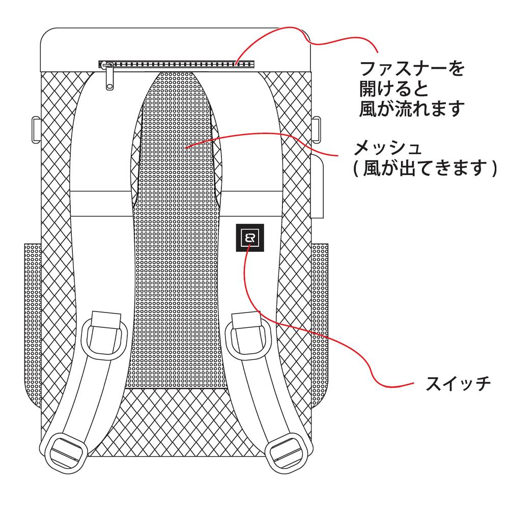 BR-683 空調エアコン電動ファン付きリュック