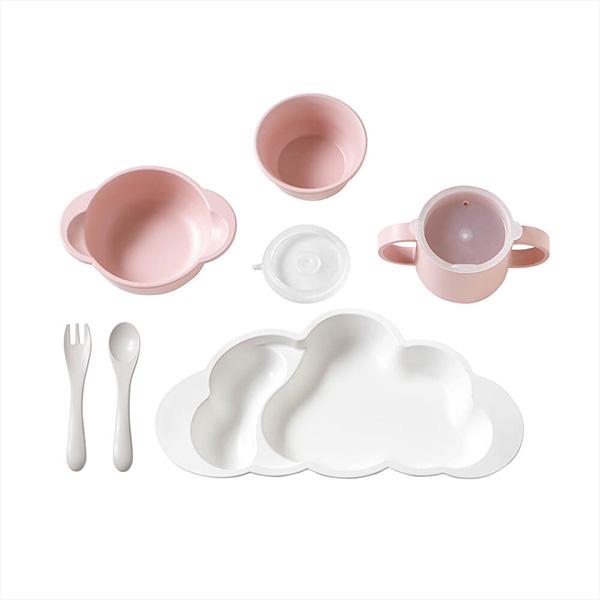 10mois グランデ おしょくじ3点セット (マママンマ グランデプレート+マット+お食事ポーチロン 袖なし) / ピンク