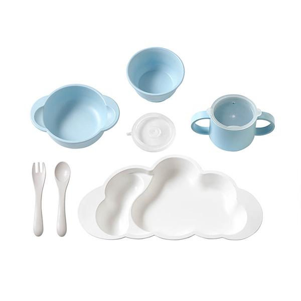 10mois グランデ おしょくじ3点セット (マママンマ グランデプレート+マット+お食事ポーチロン 袖なし) / ブルー