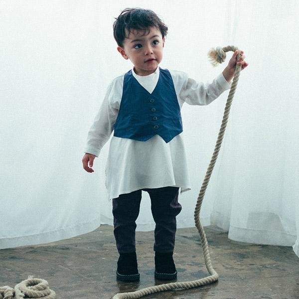 MARLMARL マールマール エプロン ギャルソン for Baby (80-90cm) / ネイビー