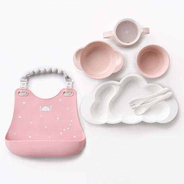 10mois mamamanma(マママンマ) グランデプレート + ビブセット / ピンク