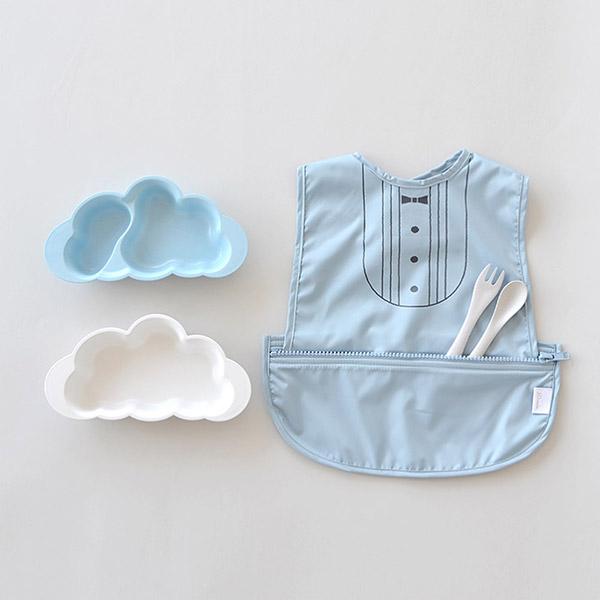 10mois おしょくじ2点セット 袖なし ブルー (マママンマ プレートセット+お食事ポーチロン 袖なし)