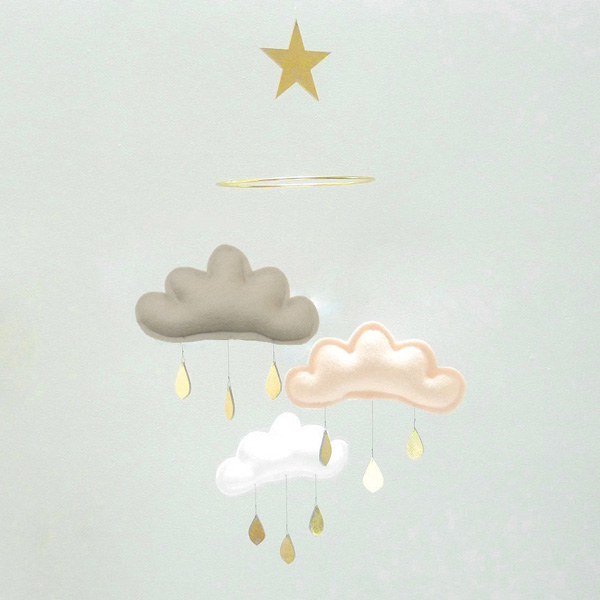 The Butter Flying  雲のモビール Mobile on a ring with star / TAUPE PEACH