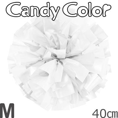 Mサイズ 単色ポンポン キャンディーホワイト 持ち手ひも付