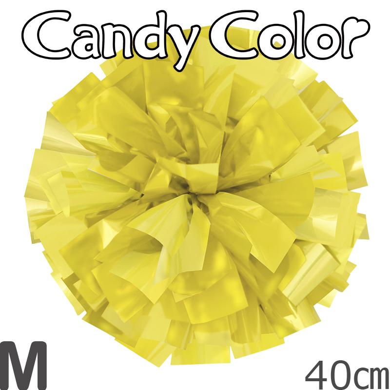 Mサイズ 単色ポンポン キャンディーイエロー 持ち手ひも付