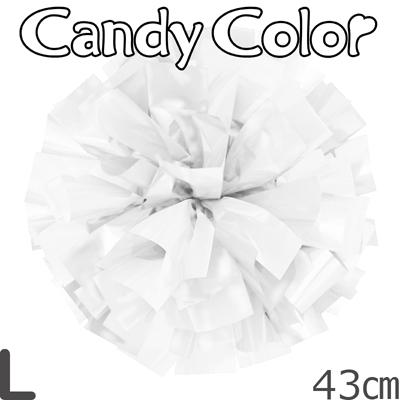 Lサイズ 単色ポンポン キャンディーホワイト 持ち手ひも付