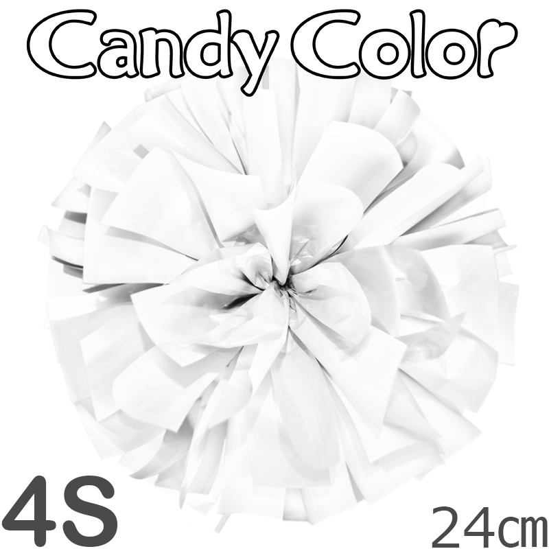 4Sサイズ 単色ポンポン キャンディーホワイト 持ち手ひも付