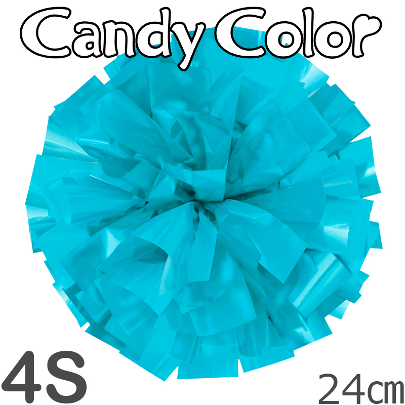 4Sサイズ 単色ポンポン キャンディーブルー 持ち手ひも付