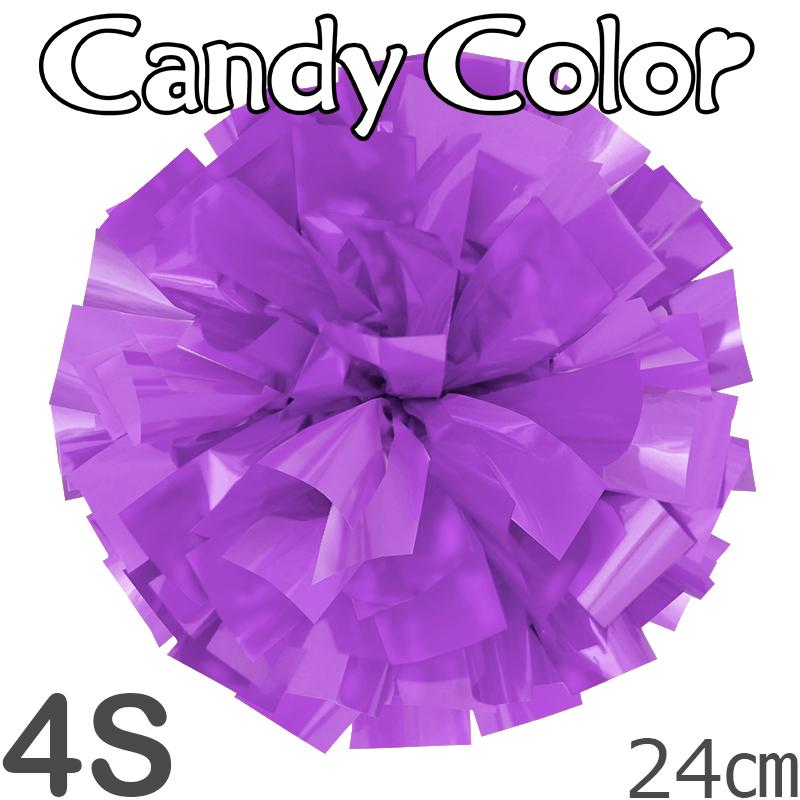 4Sサイズ 単色ポンポン キャンディーパープル 持ち手ひも付