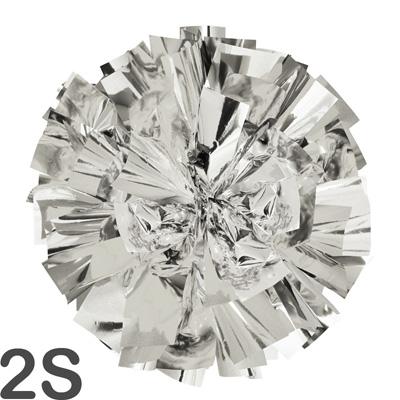 2Sサイズ 単色ポンポン 銀(シルバー) 持ち手ひも付