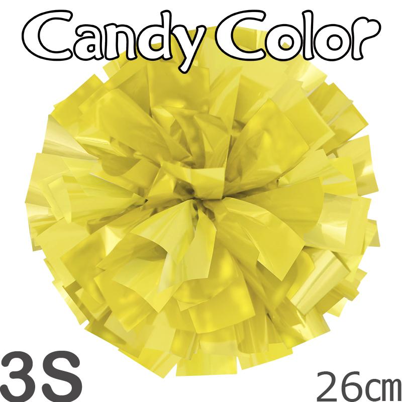 3Sサイズ 単色ポンポン キャンディーイエロー 持ち手ひも付