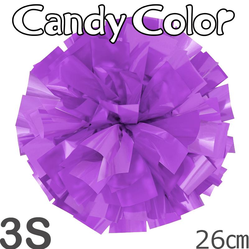 3Sサイズ 単色ポンポン キャンディーパープル 持ち手ひも付