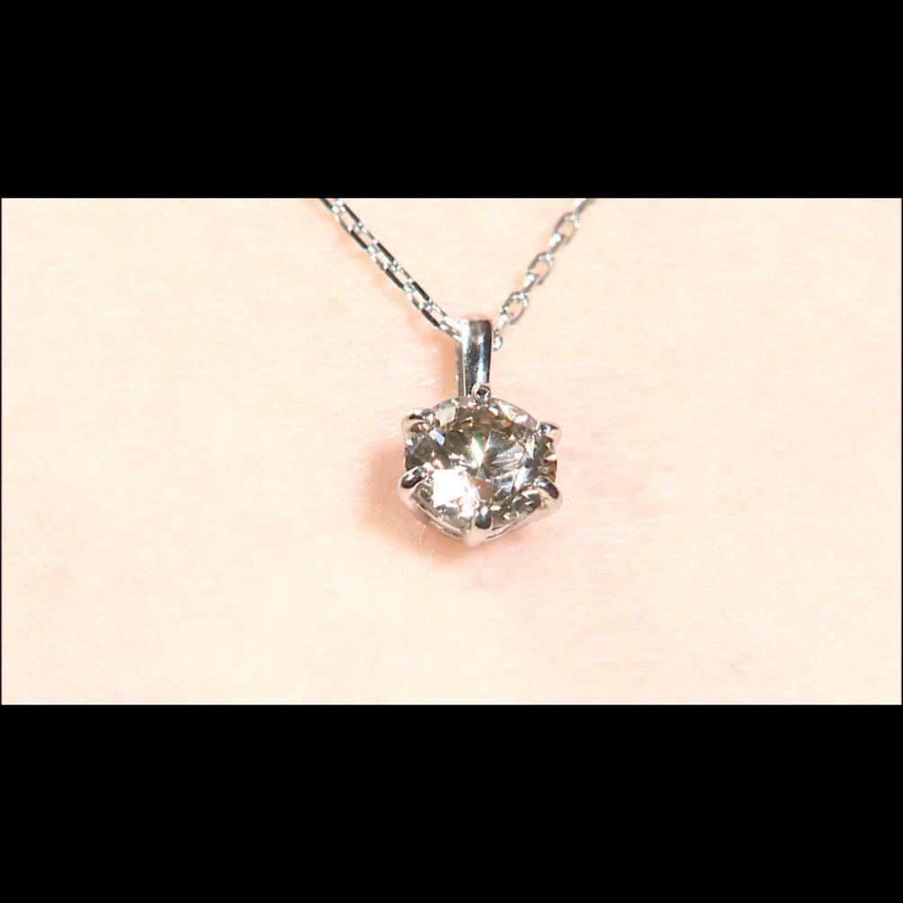 純プラチナ台大粒0.5ctシャンパンカラーダイヤモンドペンダント