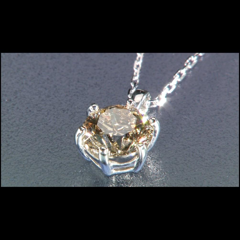 純プラチナ台大粒1ctシャンパンカラーダイヤモンドペンダント