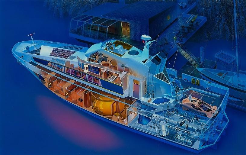 長岡秀星版画作品「Turbine Cruiser(タービン クルーザー)」
