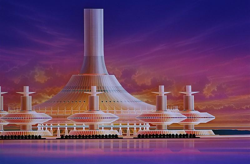 長岡秀星版画作品「Central City(セントラル シティ)」