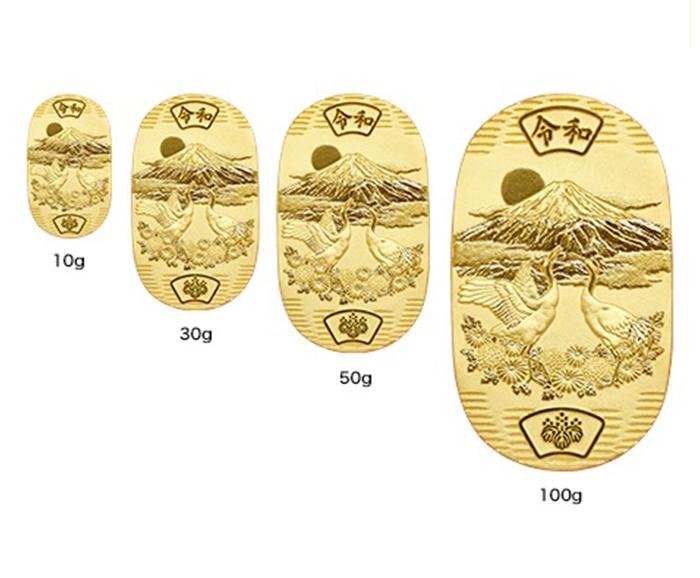 光則監修 純金製 菊花双祥鶴令和小判 50g