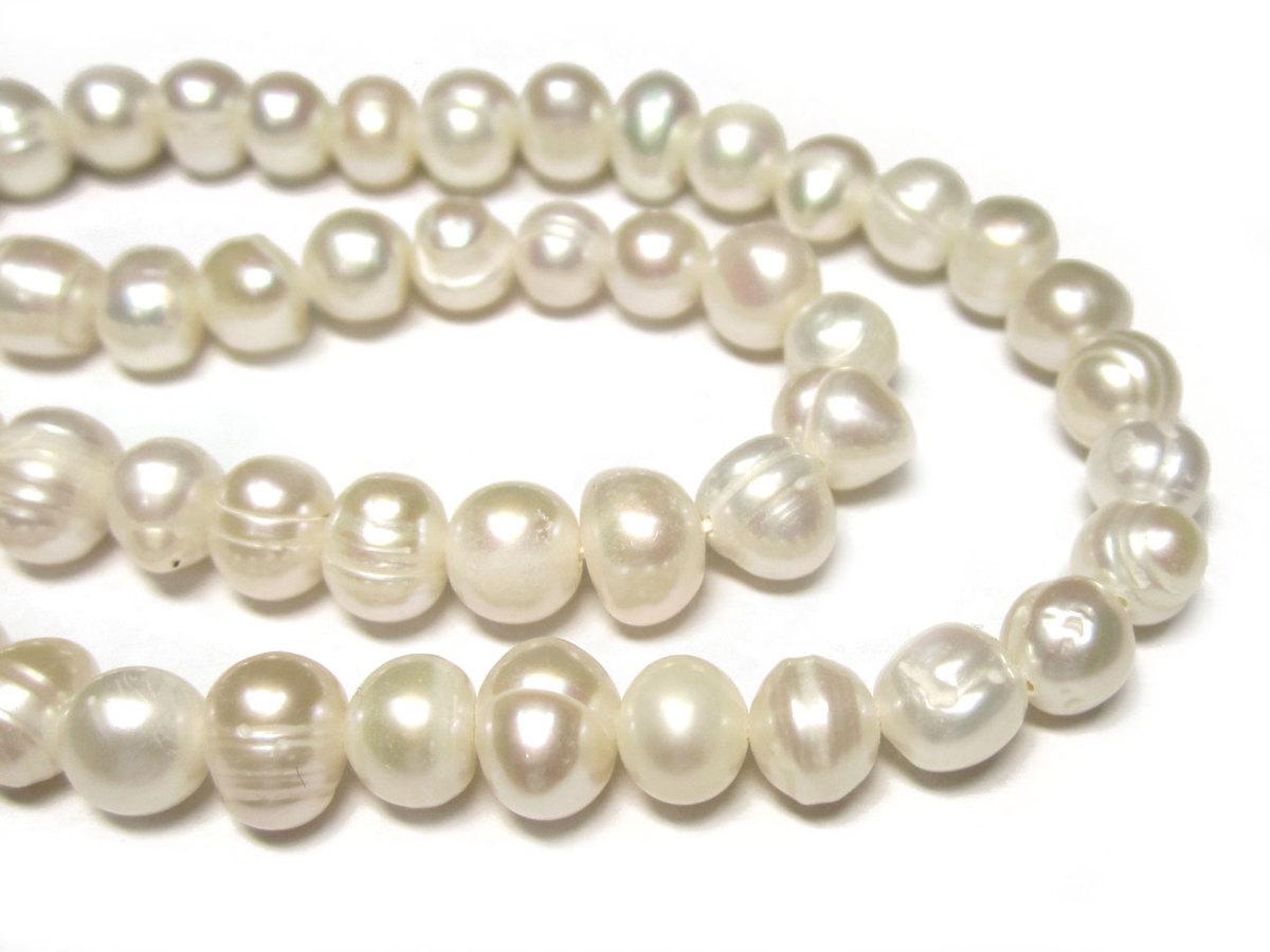 淡水パール ポテト ホワイト 約7〜8mm 連販売 (淡水真珠) ビーズ パワーストーン  アクセサリーパーツ