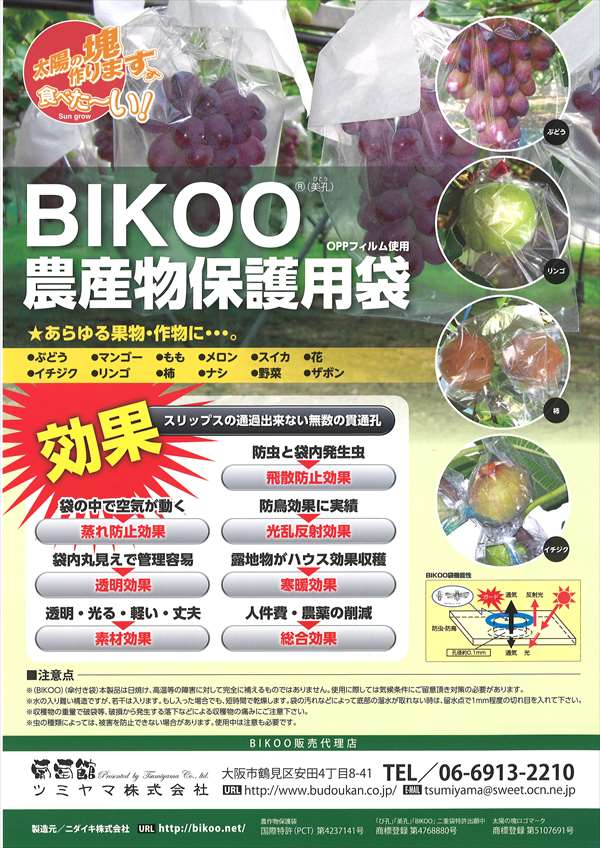 BIKOO - L 大 (250×350) サイズ (農産物保護用袋) 1000枚入/箱