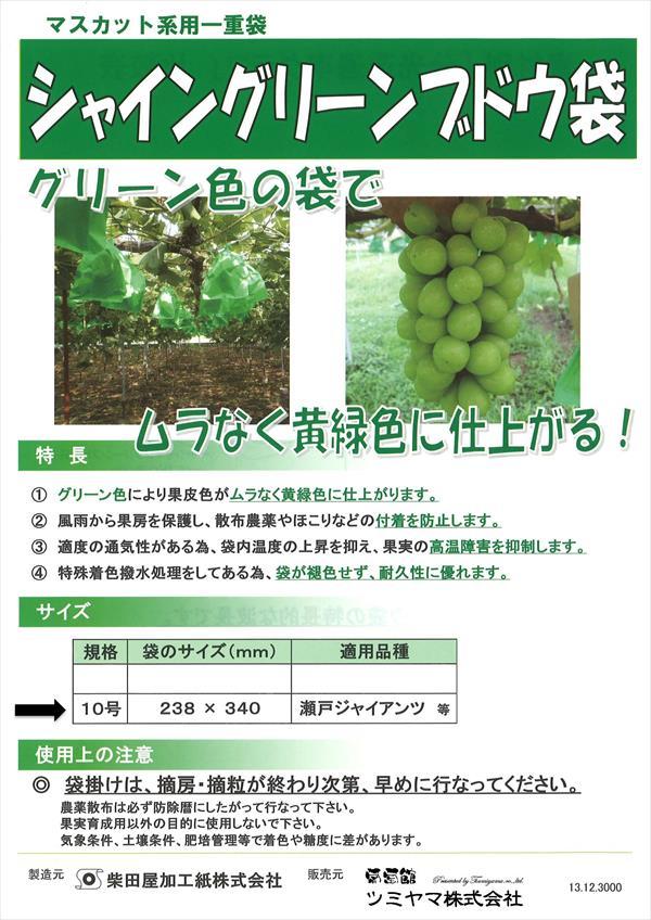 緑ぶどう 専用 シャイングリーンブドウ袋 10号 238×340mm 2000枚/箱