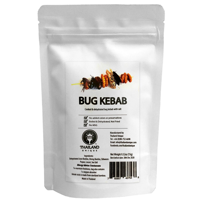 Bug Kebab4g(コガネムシ、ゲンゴロウ、シルクワームサナギ、ワタリバッタ4g)